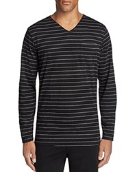 Daniel Buchler Striped V Neck Lounge Tee Grey Stripe