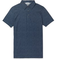 Richard James Printed Cotton Jersey Polo Shirt Navy