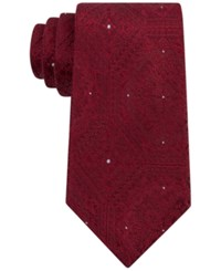 Sean John Men's Tonal Medallion Tie Red