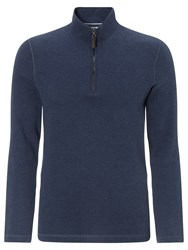 John Lewis French Rib Zip Neck Jumper Navy