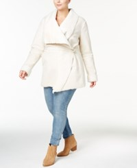 Inc International Concepts Plus Size Faux Shearling Wrap Coat Created For Macy's Washed White