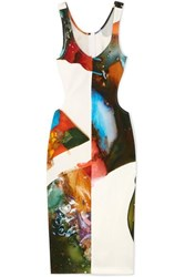 Thierry Mugler Cutout Printed Stretch Crepe Dress White