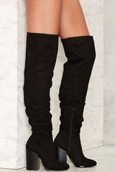 Nasty Gal Fold You So Over The Knee Boot Black