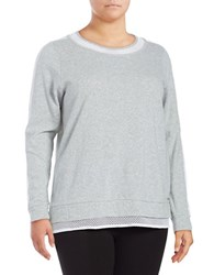 Marc New York Crochet Mesh Sweater Light Grey Heather