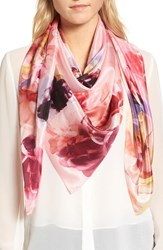 Nordstrom Print Silk Square Scarf Coral Fresh Blooms