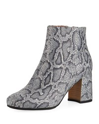 Gentle Souls Troy Printed Leather Block Heel Booties Pewter