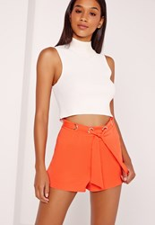 Missguided Eyelet Detail Tie Waist Shorts Orange Orange