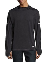 Asics Long Sleeve Hooded Pullover Charcoal