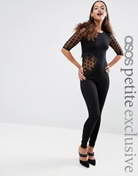 Asos Petite Halloween Bodyfit Jumpsuit With Bite Cut Out And Dobby Mesh Black