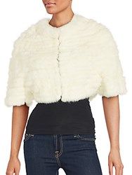 La Fiorentina Dyed Rabbit Fur Cropped Jacket White