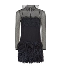 Red Valentino Feather Skirt Mesh Dress Female Blue