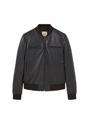 Mango Men's Leather Bomber Jacket Black