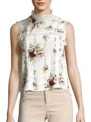 Alice Olivia Jonie Silk And Lace Blouse Vintage Bouquet Cream