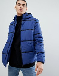 Only And Sons Hooded Puffer Jacket With Brand Tape Detail Twilight Blue