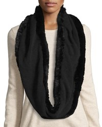 La Fiorentina Fur Trim Cashmere And Wool Infinity Scarf Black