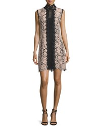 Nanette Lepore Sleeveless Lace Colorblock Mini Dress Desert Rose