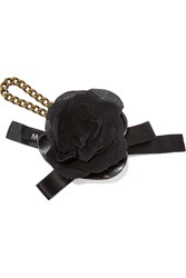 Marni Satin Canvas Bone And Brass Floral Keychain Black