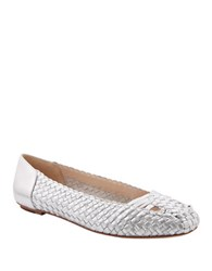 Delman Frani Basket Weave Leather Ballet Flats Silver