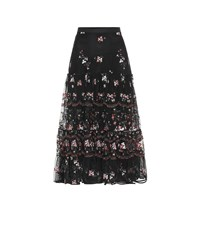 Tory Burch Embroidered Tulle Midi Skirt Black
