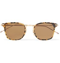 Thom Browne Square Frame Acetate And Gold Tone Sunglasses Brown