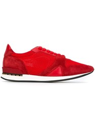 Burberry Mesh Panel Sneakers Red