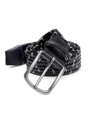 Saks Fifth Avenue Collection Grey Woven Italian Leather And Rayon Belt Black Charcoal
