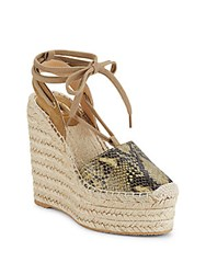 Ash Leather Lace Up Wedge Espadrille Sandals Tan