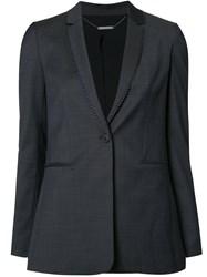 Elie Tahari Embroidered Trim Blazer Blue