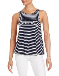 William Rast Text Graphic Striped Tank Blue
