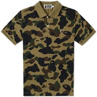 A Bathing Ape 1St Camo Head One Point Polo Green