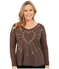 Roper Plus Size 9917 Light Weight Heather Jersey V Neck Tee Brown Women's T Shirt