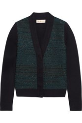 Tory Burch Lainey Boucle And Merino Wool Cardigan Emerald