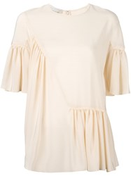 Stella Mccartney Ruffled Detail Top Nude Neutrals
