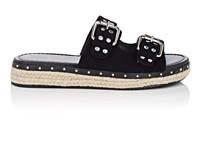 Barneys New York Studded Suede Espadrille Slide Sandals Black