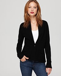 Aqua Cashmere Blazer Shawl Collar With Pockets Black