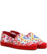 Dolce And Gabbana Printed Leather Espadrilles Multicoloured