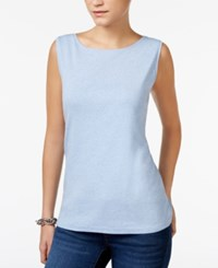 Karen Scott Boat Neck Tank Top Only At Macy's Light Blue Heather