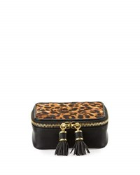 Neiman Marcus Large Leopard Calf Hair Jewelry Case Natural Bl