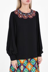 Andrew Gn Women S Embroidered Bell Sleeve Blouse Boutique1 Black