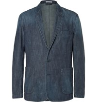 Tomas Maier Blue Slim Fit Washed Denim Blazer Indigo