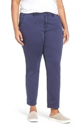 Sejour Plus Size Women's Stretch Cotton Ankle Pants Navy Peacoat