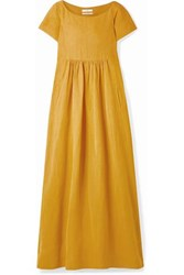 Co Oversized Gathered Woven Maxi Dress Saffron