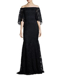 Theia Off The Shoulder Floral Lace Mermaid Gown Midnight