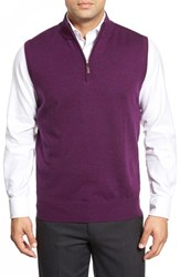 Men's Peter Millar Quarter Zip Merino Wool Vest Cabernet