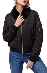 Petite Women's Topshop 'Ma1' Bomber Jacket With Faux Fur Collar