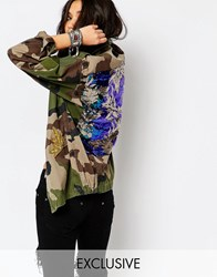 Reclaimed Vintage Military Jacket In Camo With Sequin Festival Patch Khaki