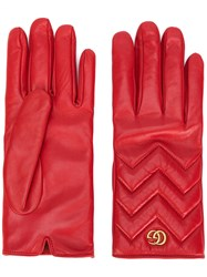 Gucci Gg Marmont Gloves Women Lamb Skin Cashmere 8 Red