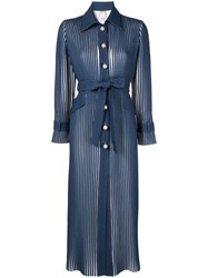 Huishan Zhang Pearl Button Streamlined Coat Blue
