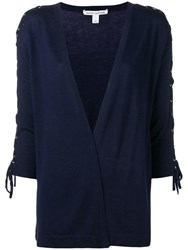Autumn Cashmere Lace Up Sleeve Cardigan Blue