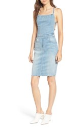 Mother The Tie Back Frayed Denim Dress Tinge